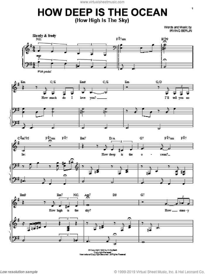 How Deep Is The Ocean (How High Is The Sky) sheet music for voice and piano by Susannah McCorkle and Irving Berlin, intermediate skill level