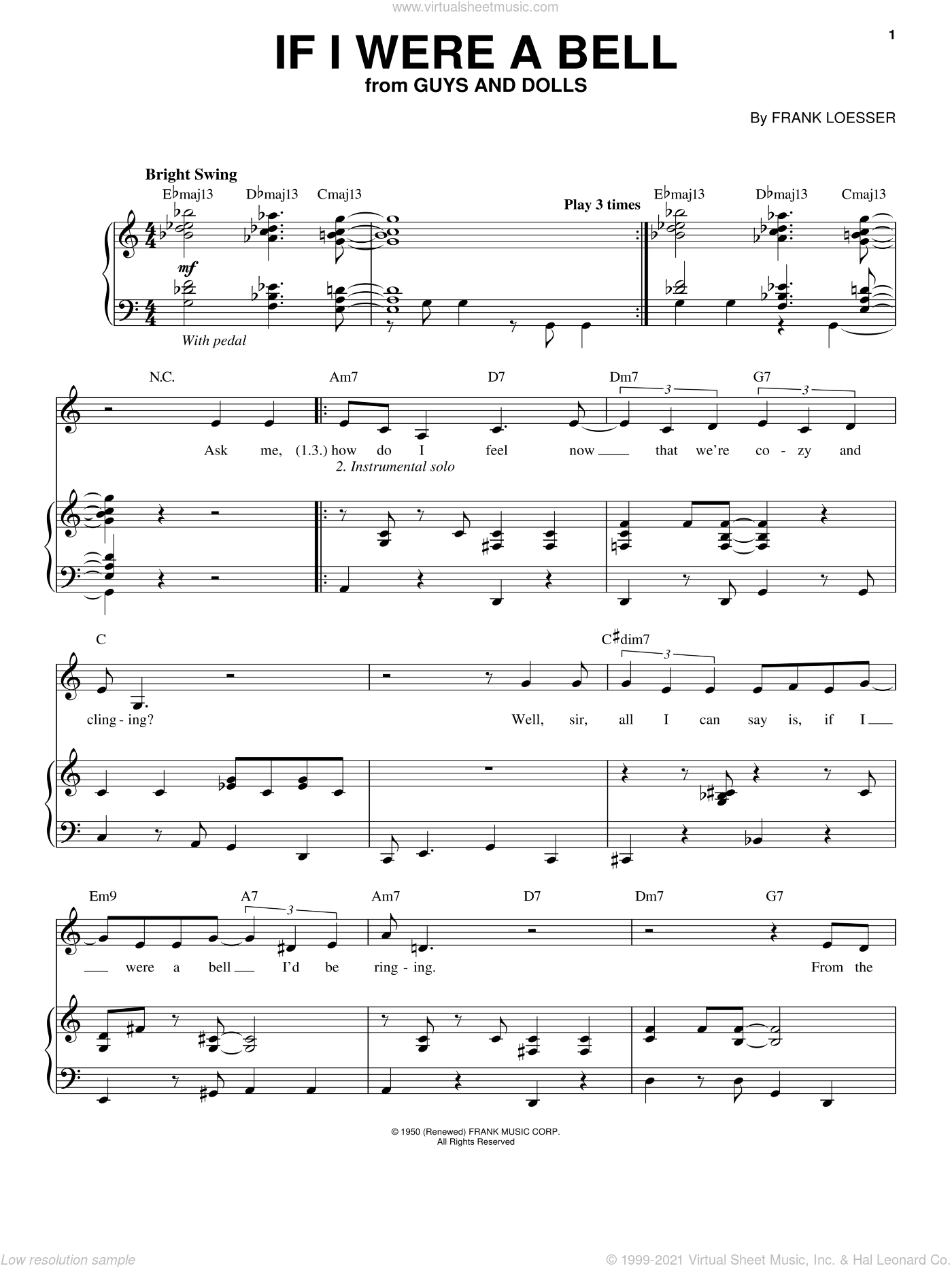 If I Were A Bell sheet music for voice and piano by Blossom Dearie, Guys And Dolls (Musical) and Frank Loesser, intermediate skill level