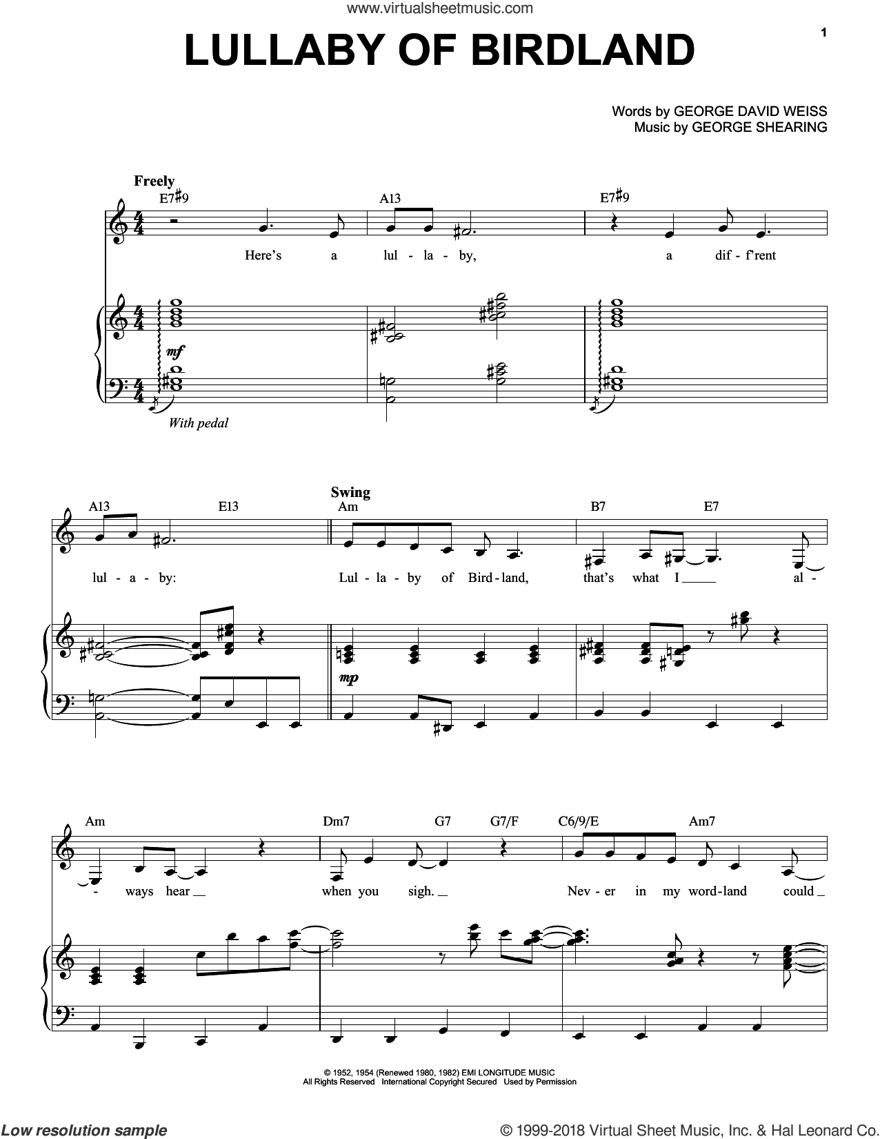 Lullaby Of Birdland sheet music for voice and piano by Chris Connor, George David Weiss and George Shearing, intermediate skill level