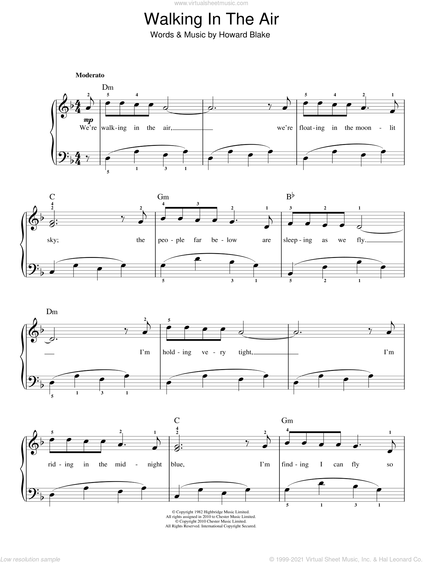 Walking In The Air sheet music for piano solo by Howard Blake, Aled Jones and The Snowman (Movie), easy skill level