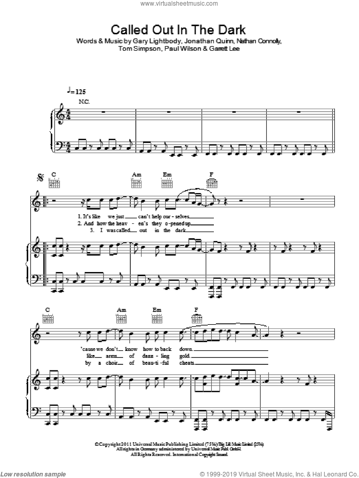 Called Out In The Dark sheet music for voice, piano or guitar by Tom Simpson, Snow Patrol, Gary Lightbody, Nathan Connolly and Paul Wilson. Score Image Preview.