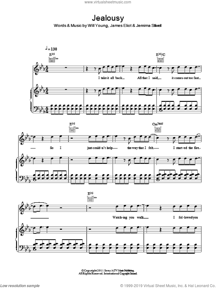 Jealousy sheet music for voice, piano or guitar by Jemima Stilwell, James Eliot and Will Young. Score Image Preview.