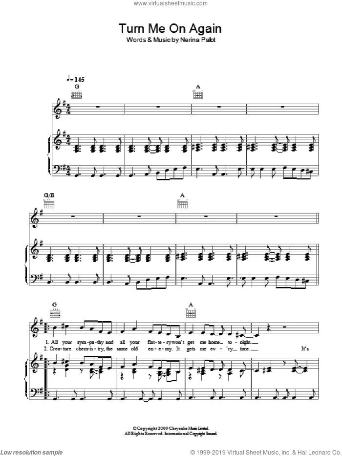 Turn Me On Again sheet music for voice, piano or guitar by Nerina Pallot, intermediate skill level