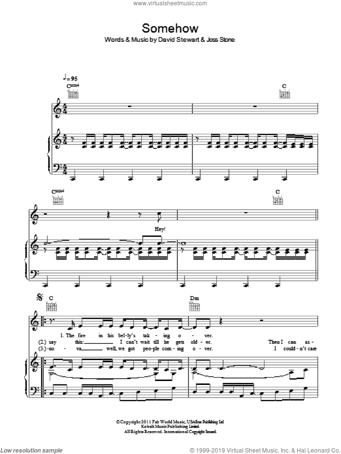 Somehow sheet music for voice, piano or guitar by Dave Stewart and Joss Stone. Score Image Preview.