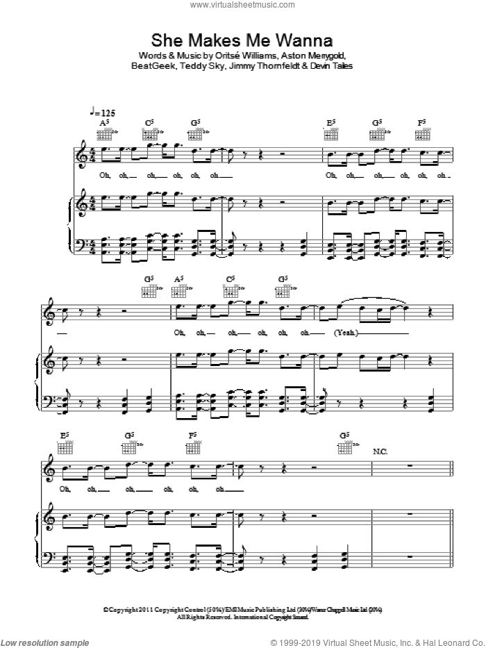 She Makes Me Wanna sheet music for voice, piano or guitar by Teddy Sky and Oritse Williams. Score Image Preview.