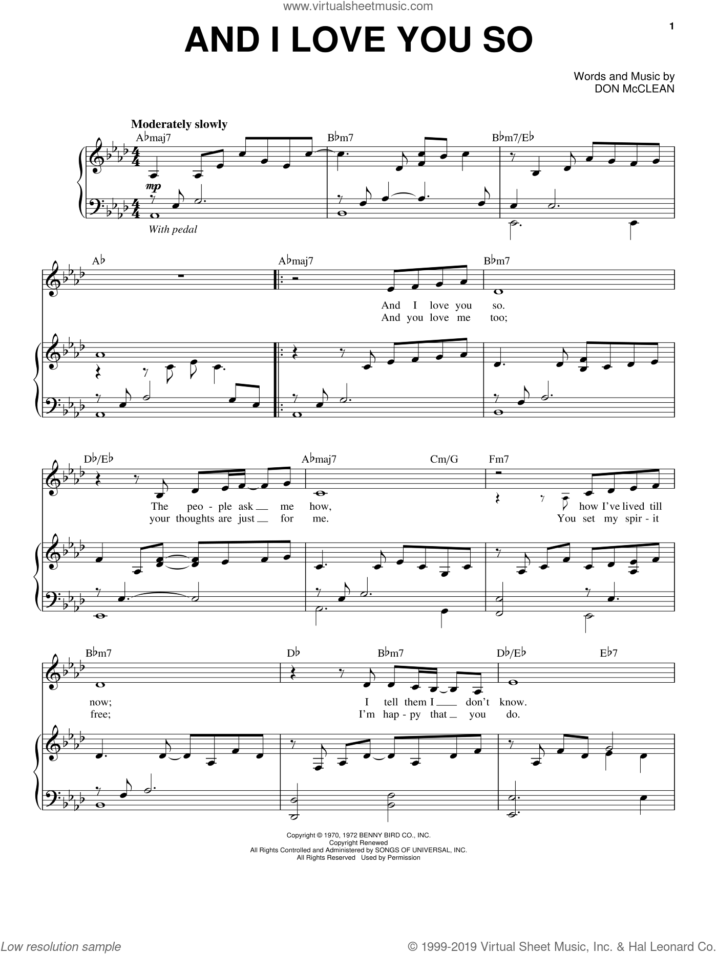 And I Love You So sheet music for voice and piano by Perry Como and Don McLean, wedding score, intermediate skill level