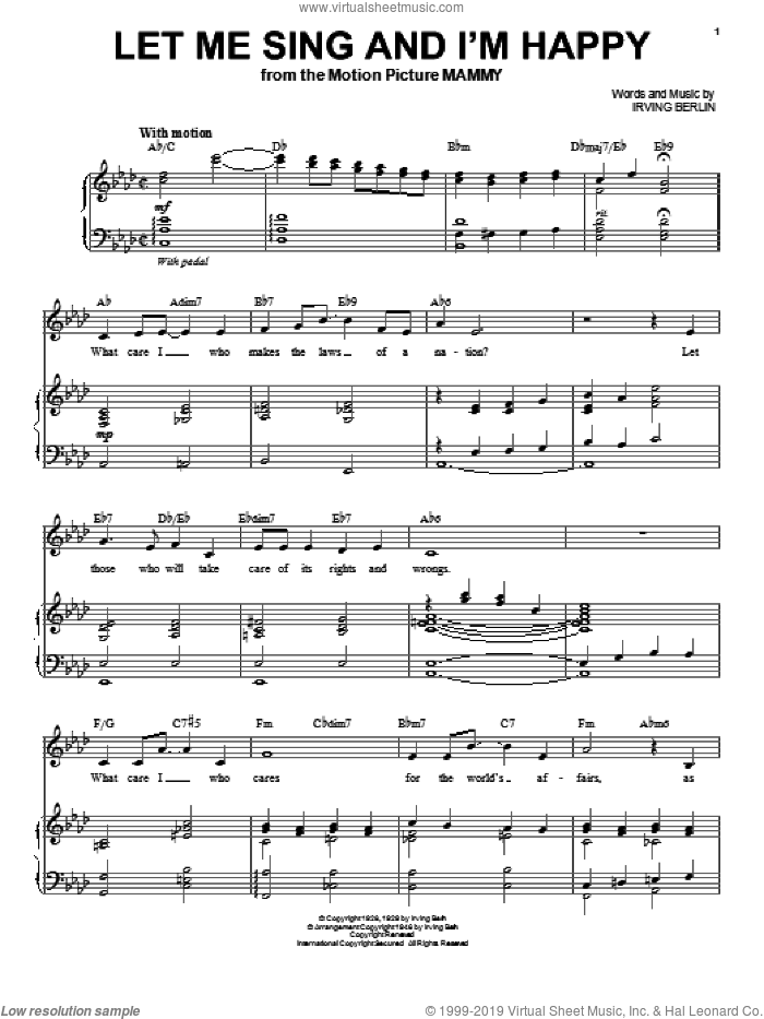 Let Me Sing And I'm Happy sheet music for voice and piano by Al Jolson and Irving Berlin, intermediate skill level