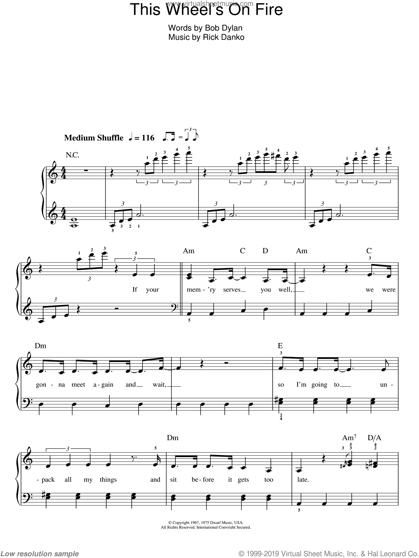 This Wheel's On Fire sheet music for piano solo by Bob Dylan and Rick Danko, easy skill level