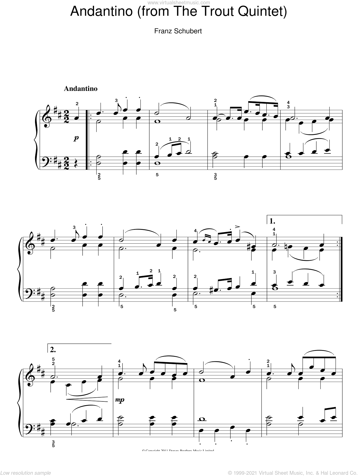 Theme From The Trout Quintet (Die Forelle) sheet music for piano solo by Franz Schubert, classical score, easy skill level