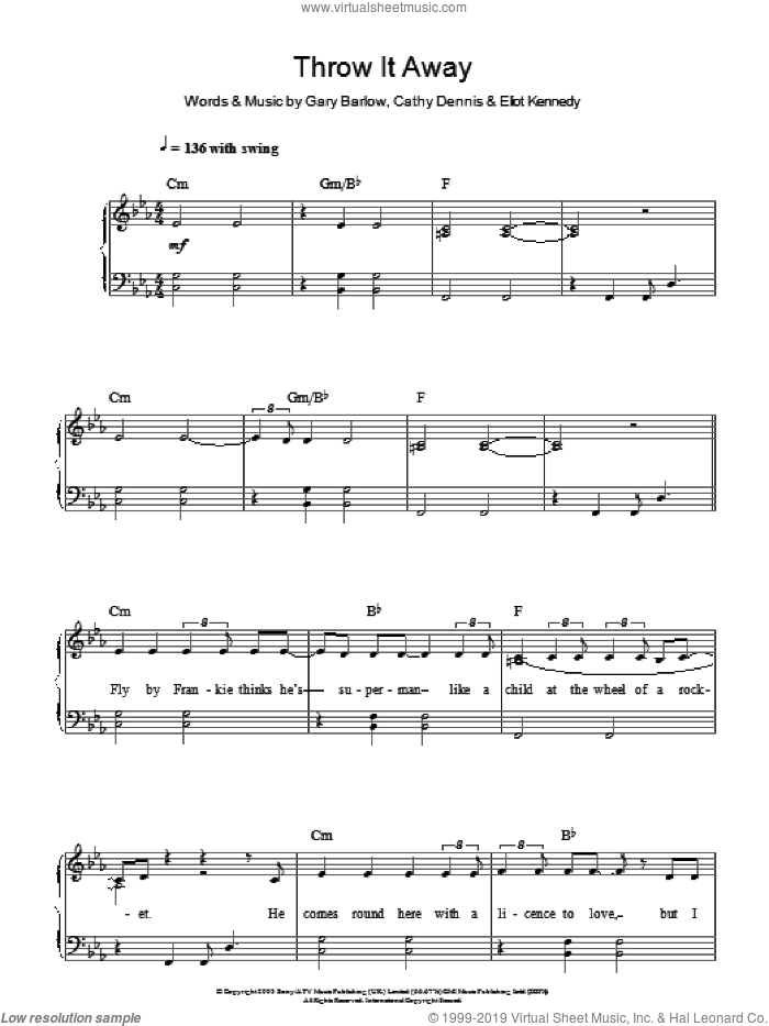 Throw It Away, (easy) sheet music for piano solo by Delta Goodrem, Cathy Dennis, Eliot Kennedy and Gary Barlow, easy skill level