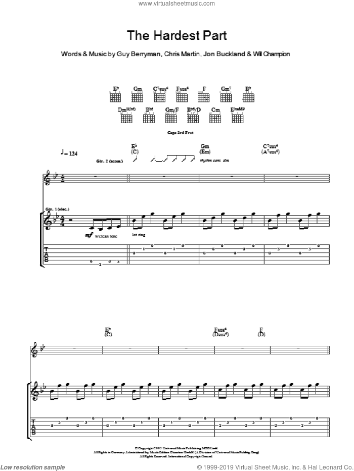 The Hardest Part sheet music for guitar (tablature) by Coldplay, Chris Martin, Guy Berryman, Jon Buckland and Will Champion, intermediate skill level