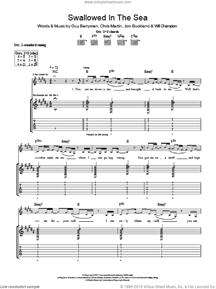 Swallowed In The Sea sheet music for guitar (tablature) by Coldplay, Chris Martin, Guy Berryman, Jon Buckland and Will Champion, intermediate. Score Image Preview.