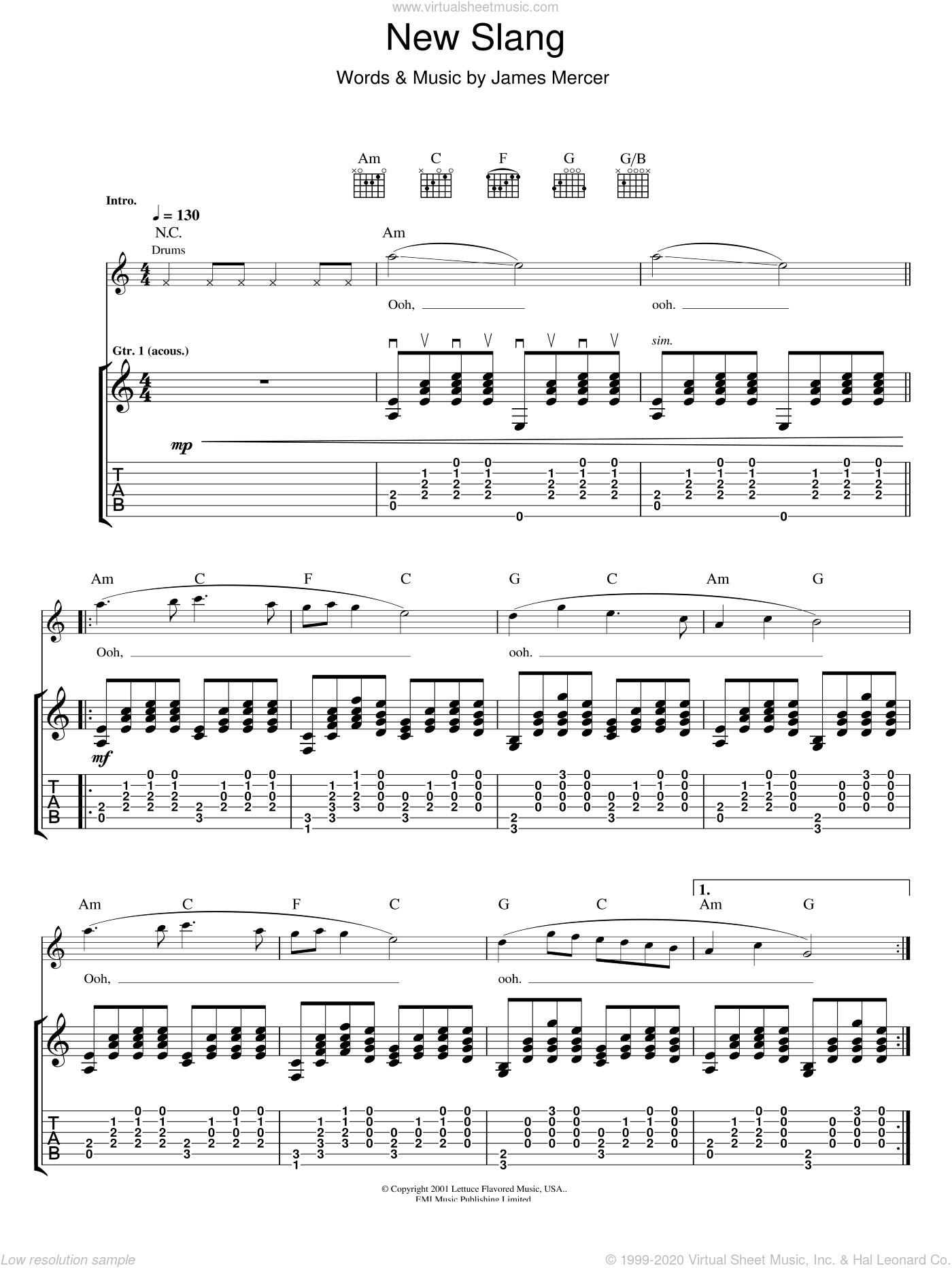 New Slang sheet music for guitar (tablature) by James Mercer. Score Image Preview.
