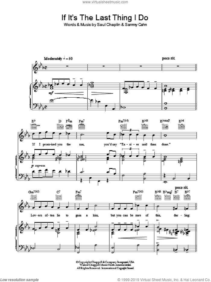 If It's The Last Thing I Do sheet music for voice, piano or guitar by Saul Chaplin