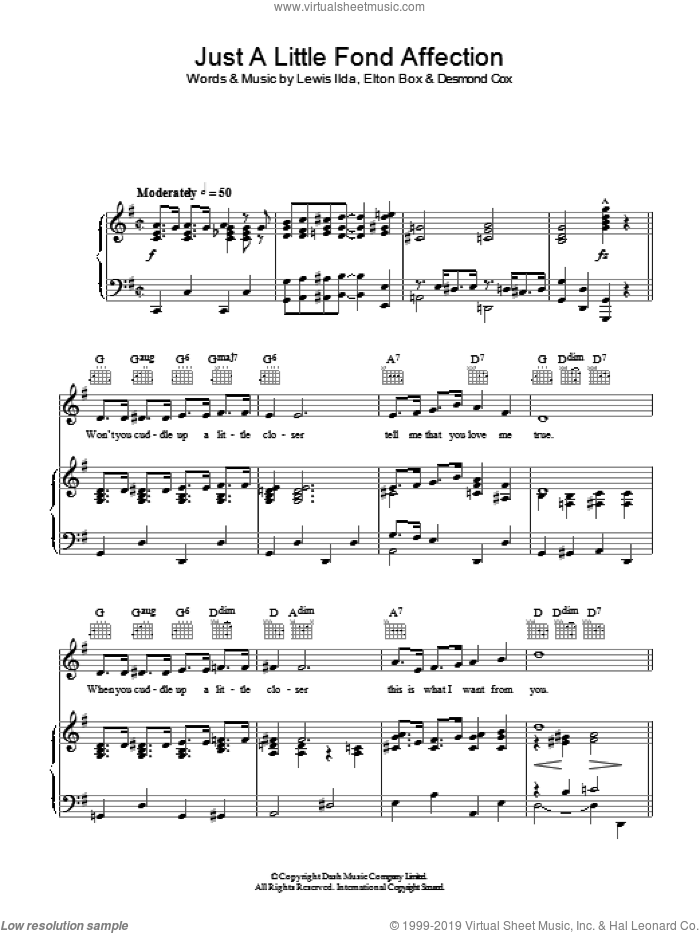 Just A Little Fond Affection sheet music for voice, piano or guitar by Lewis Ilda. Score Image Preview.