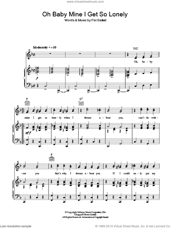 Oh, Baby Mine (I Get So Lonely) sheet music for voice, piano or guitar by Anne Shelton and Pat Ballard, intermediate skill level