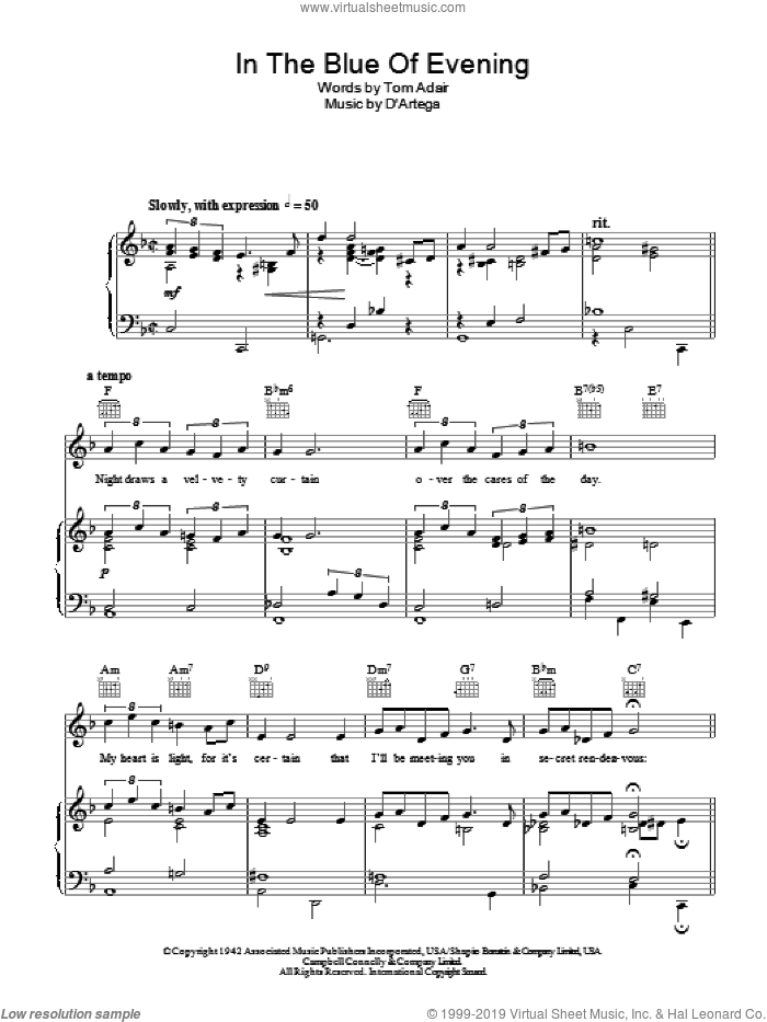 In The Blue Of Evening sheet music for voice, piano or guitar by Frank Sinatra and Tom Adair, intermediate skill level