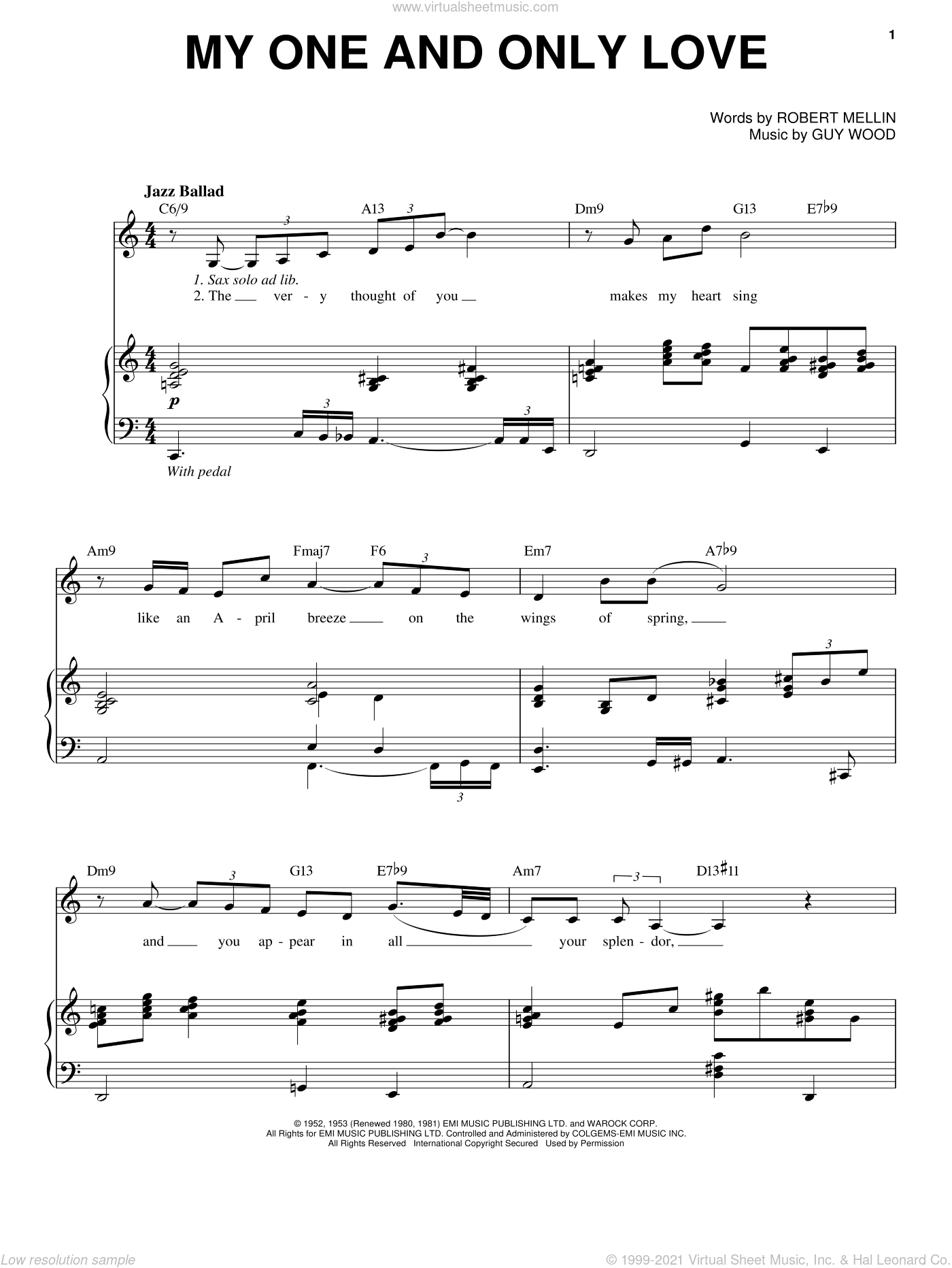 My One And Only Love sheet music for voice and piano by Johnny Hartman, Guy Wood and Robert Mellin, intermediate skill level