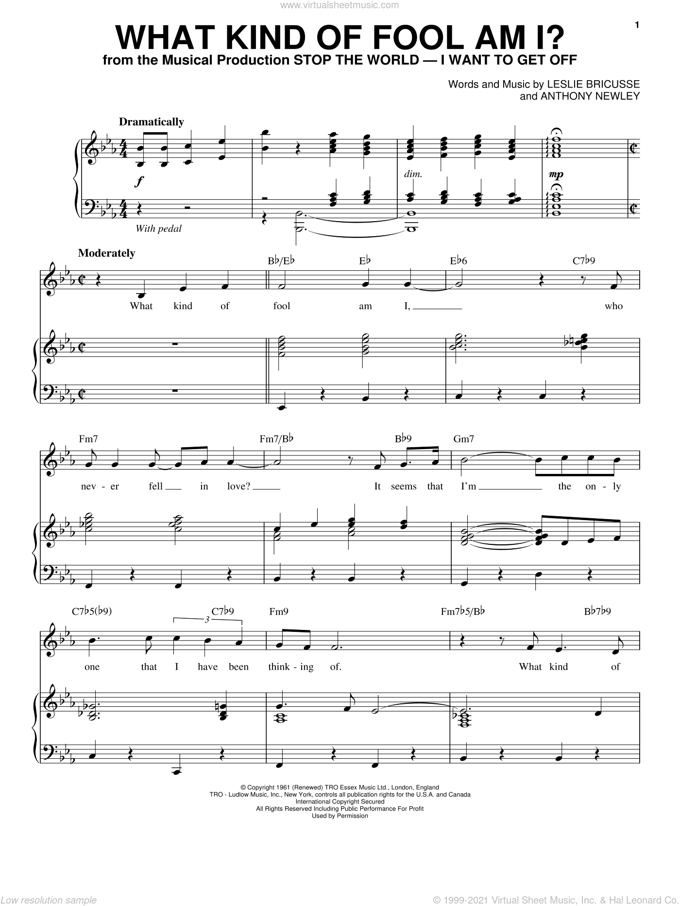 What Kind Of Fool Am I? sheet music for voice and piano by Anthony Newley and Leslie Bricusse, intermediate skill level