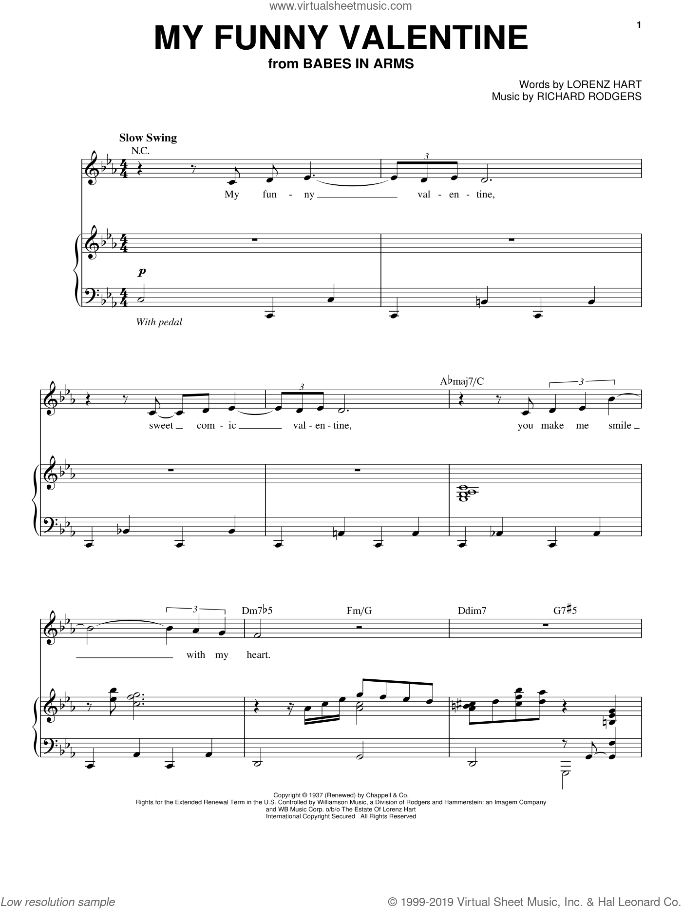 My Funny Valentine sheet music for voice and piano by Chet Baker, Lorenz Hart and Richard Rodgers, intermediate skill level