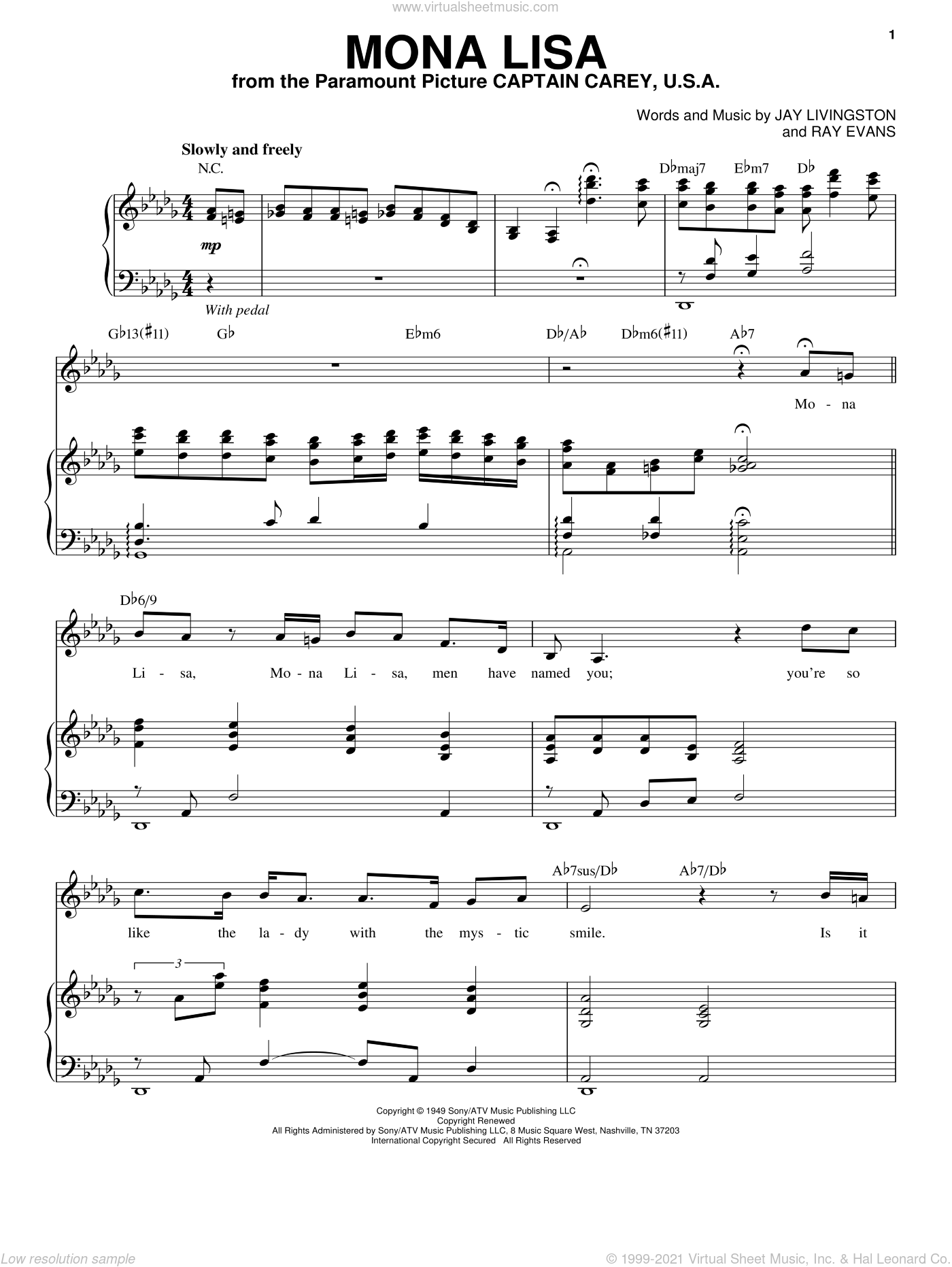Mona Lisa sheet music for voice and piano by Ray Evans, Nat King Cole and Jay Livingston. Score Image Preview.