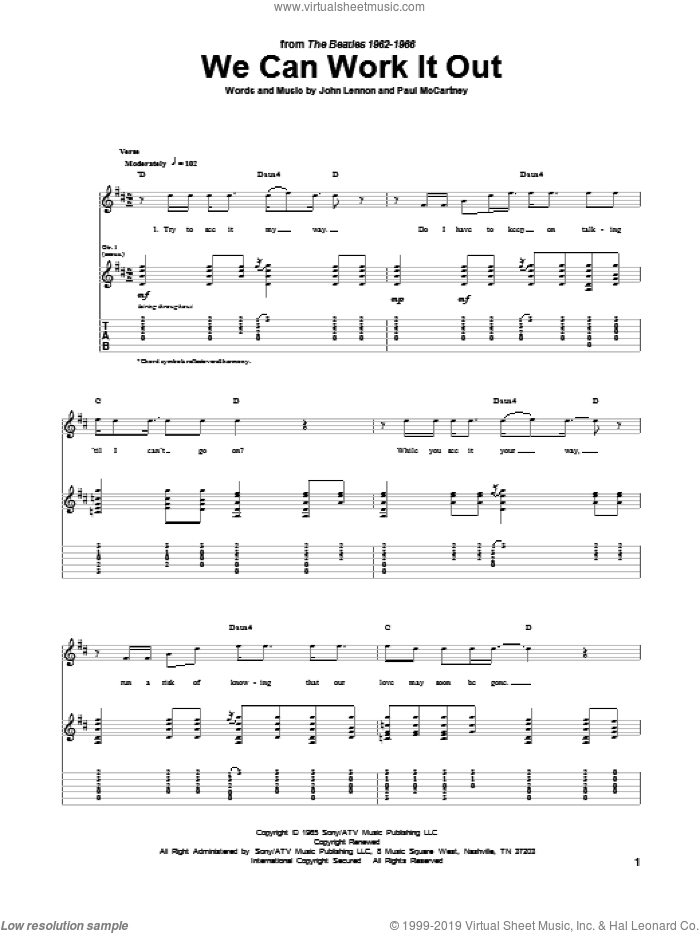 We Can Work It Out sheet music for guitar (tablature) by Paul McCartney