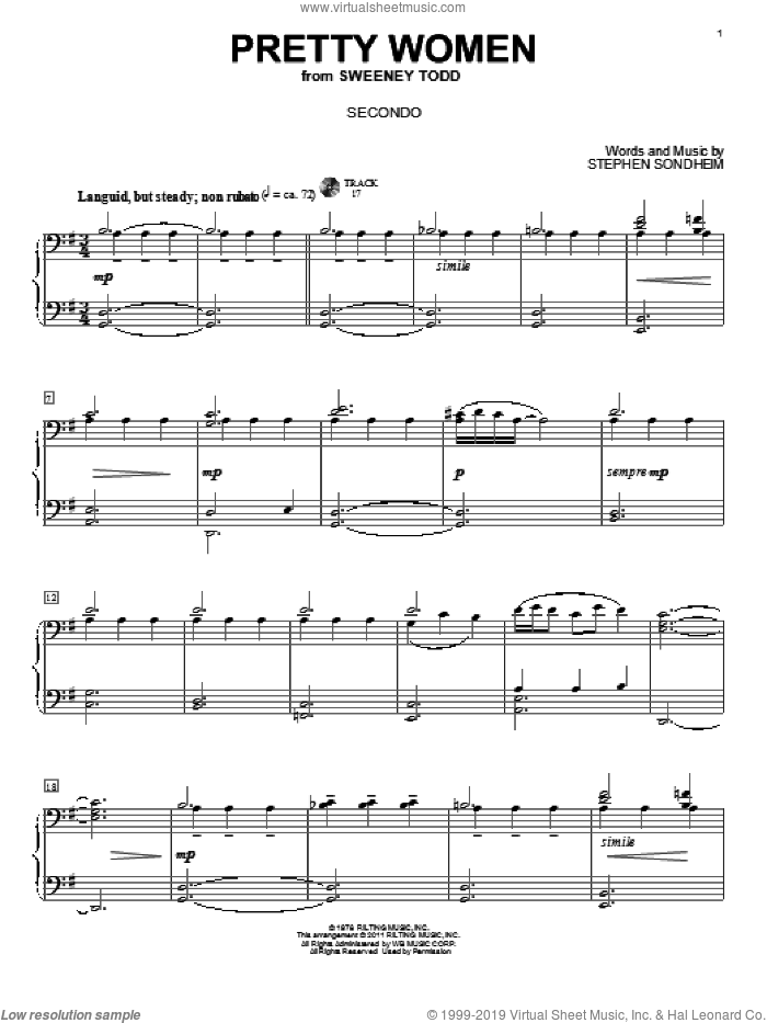 Pretty Women sheet music for piano four hands (duets) by Stephen Sondheim. Score Image Preview.