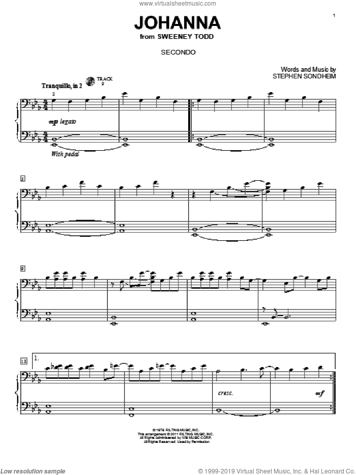 Johanna sheet music for piano four hands by Stephen Sondheim and Sweeney Todd (Musical), intermediate skill level