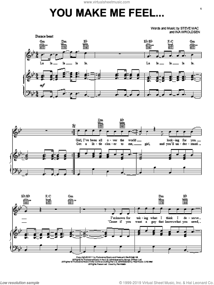 You Make Me Feel... sheet music for voice, piano or guitar by Steve Mac and Ina Wroldsen. Score Image Preview.