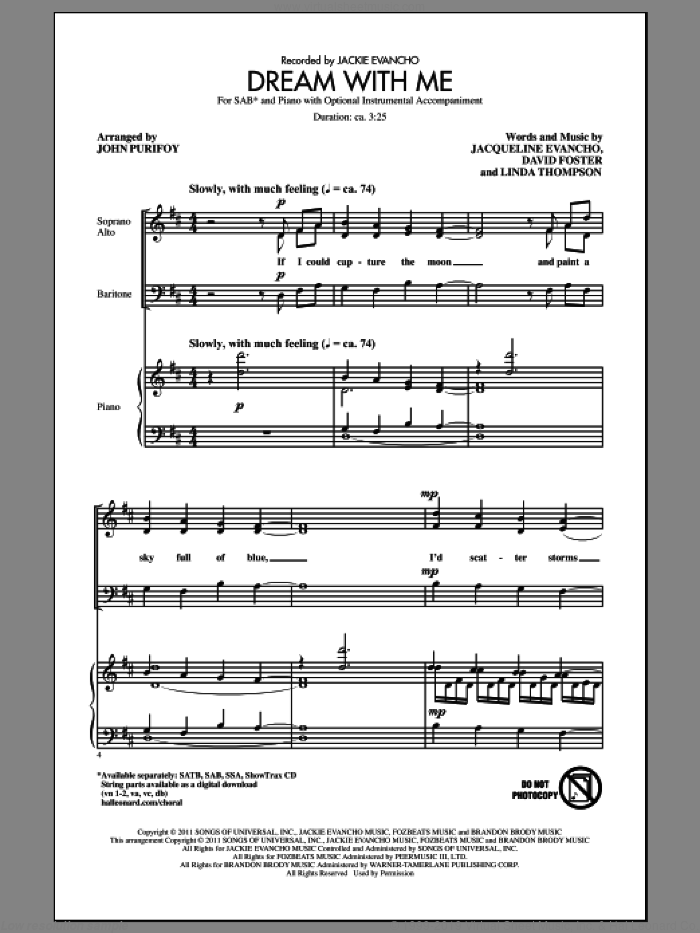 Dream With Me sheet music for choir and piano (SAB) by David Foster, Jackie Evancho, John Purifoy and Linda Thompson. Score Image Preview.