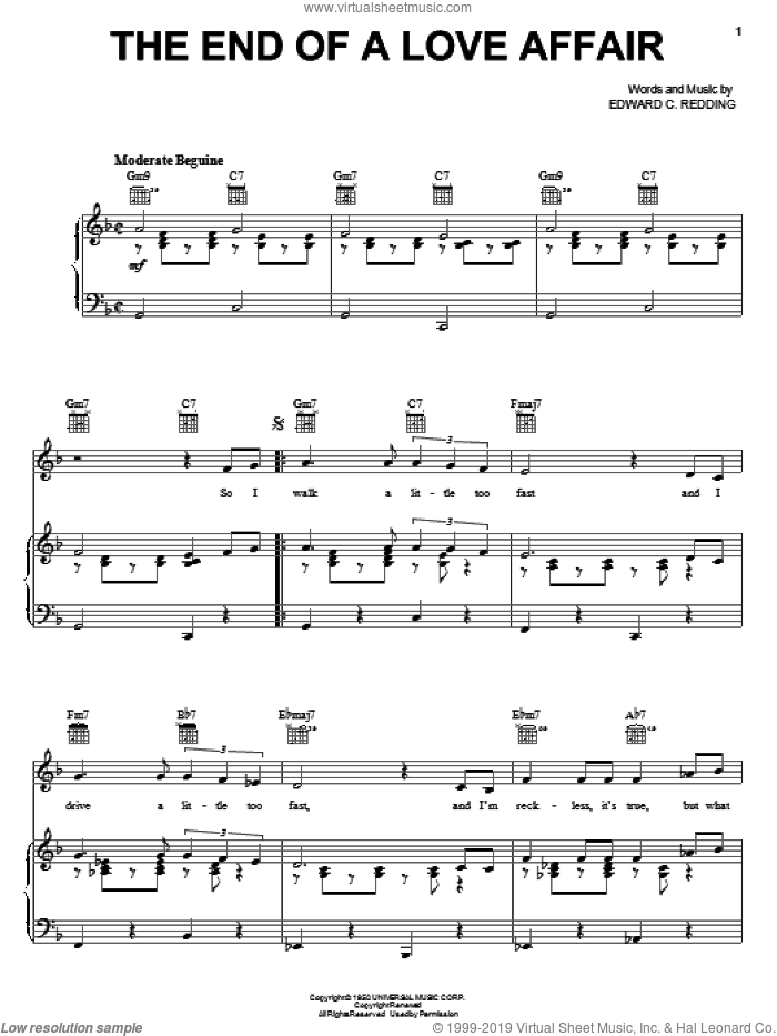 The End Of A Love Affair sheet music for voice, piano or guitar by Frank Sinatra, Nat King Cole and Edward Redding, intermediate skill level