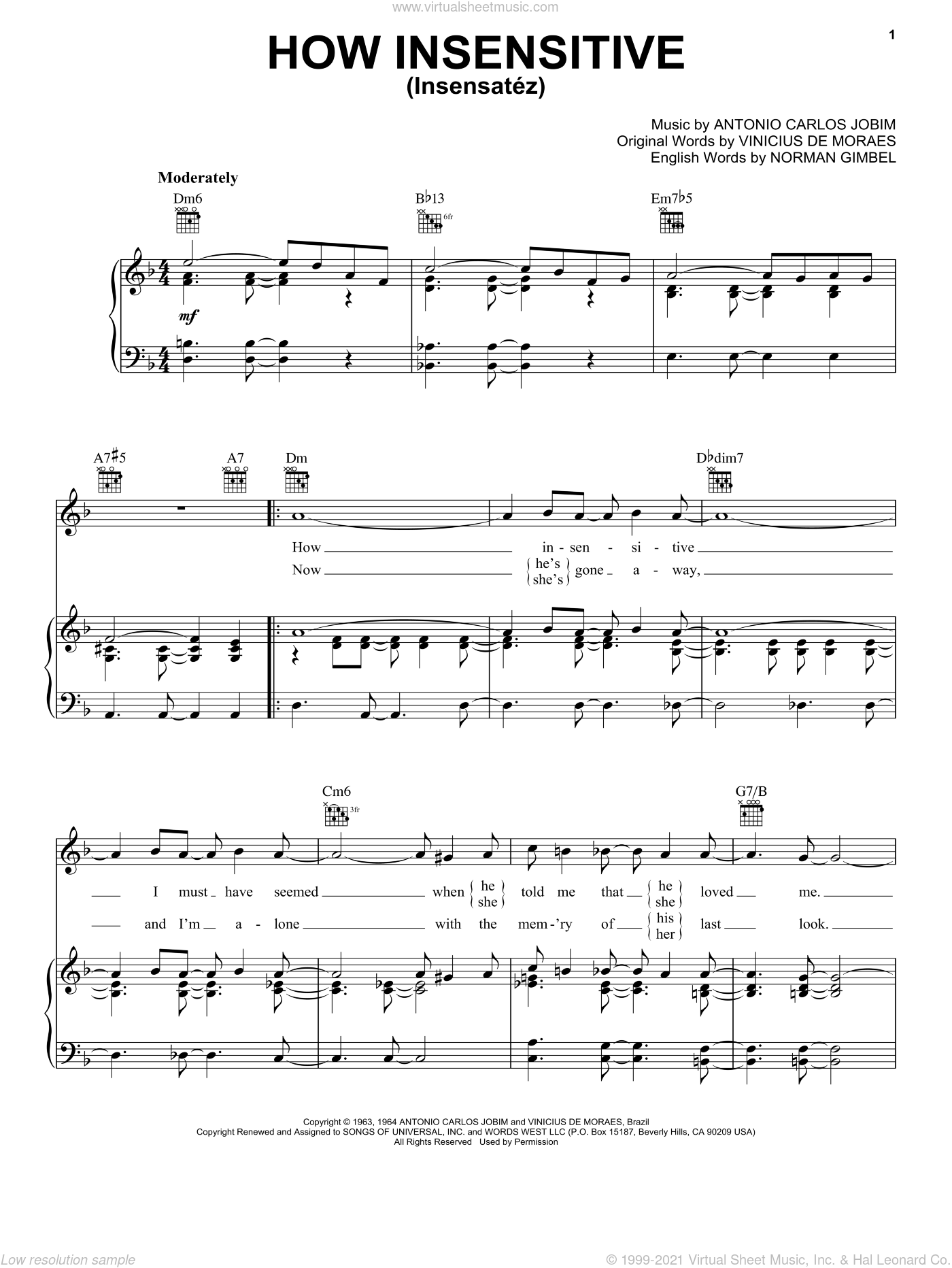 How Insensitive (Insensatez) sheet music for voice, piano or guitar by Antonio Carlos Jobim, Frank Sinatra, Norman Gimbel and Vinicius de Moraes, intermediate skill level