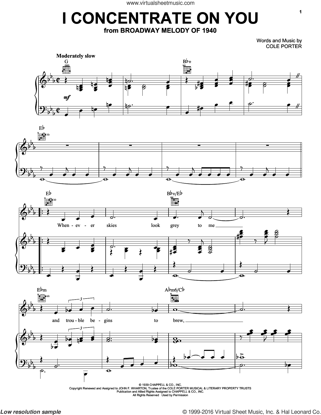I Concentrate On You sheet music for voice, piano or guitar by Frank Sinatra, Ella Fitzgerald, Judy Garland and Cole Porter. Score Image Preview.