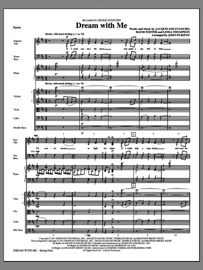 Dream With Me (complete set of parts) sheet music for orchestra/band (Strings) by David Foster, Jacqueline Evancho, Linda Thompson, Jackie Evancho and John Purifoy, intermediate skill level