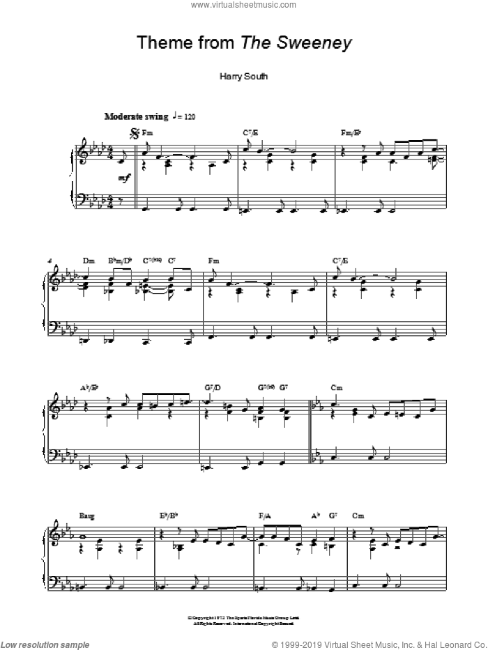 Theme from The Sweeney sheet music for piano solo by Harry South, intermediate piano. Score Image Preview.