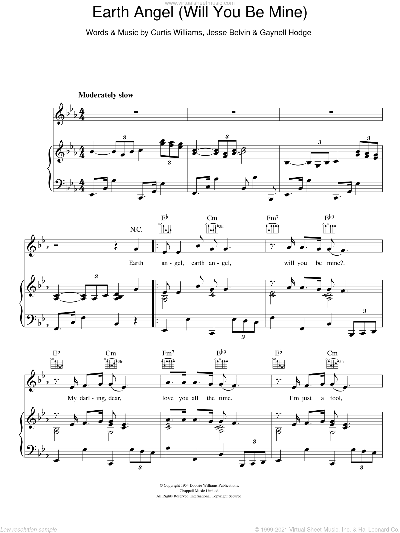 Earth Angel sheet music for voice, piano or guitar by The Platters, Curtis Williams and Jesse Belvin, intermediate. Score Image Preview.