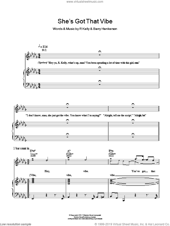 She's Got That Vibe sheet music for voice, piano or guitar by Barry Hankerson and Robert Kelly. Score Image Preview.