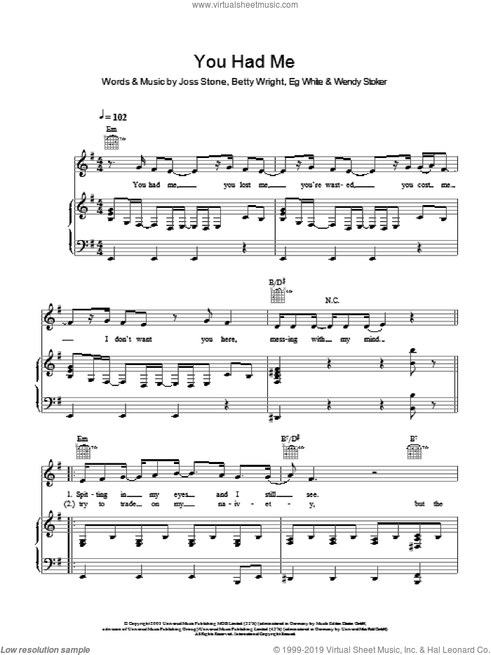 You Had Me sheet music for voice, piano or guitar by Wendy Stoker, Betty Wright, Eg White and Joss Stone. Score Image Preview.