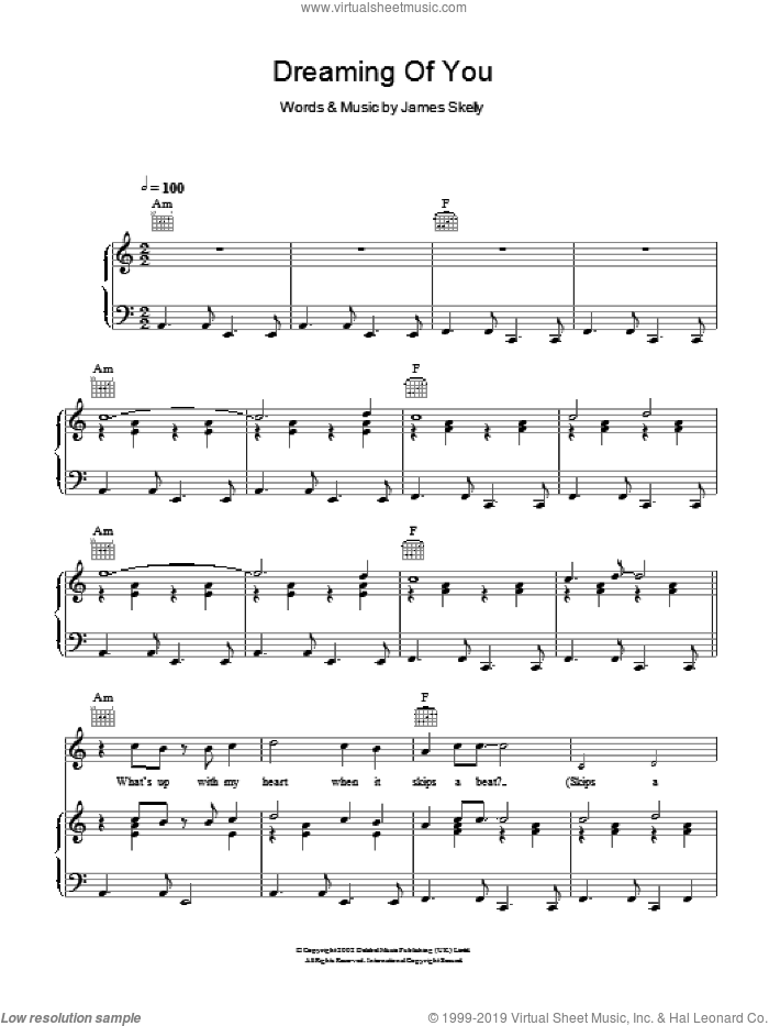 Dreaming Of You sheet music for voice, piano or guitar by James Skelly. Score Image Preview.