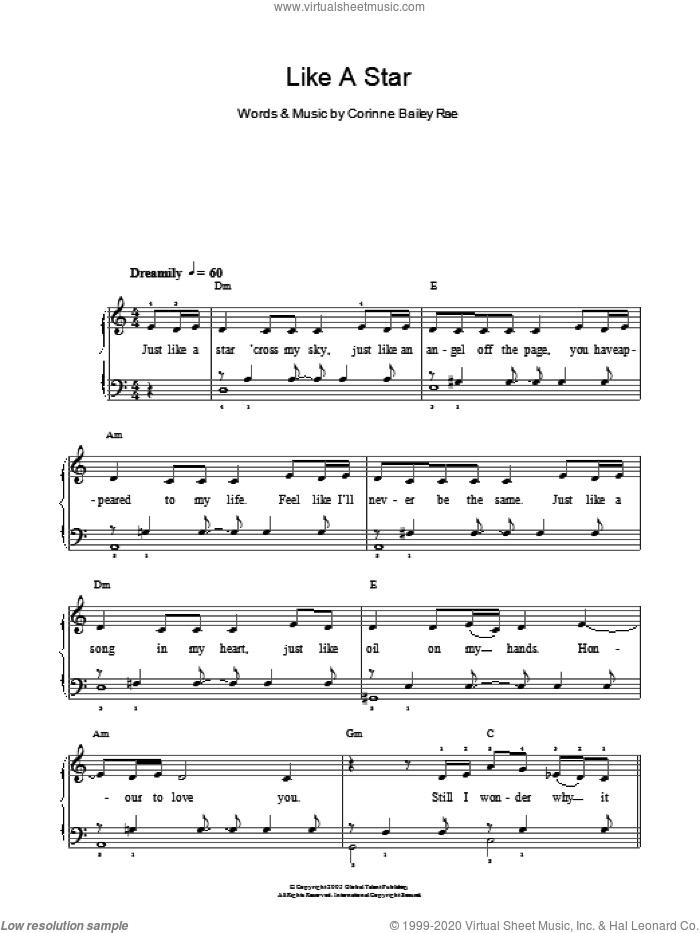 Like A Star sheet music for piano solo by Corinne Bailey Rae, easy skill level