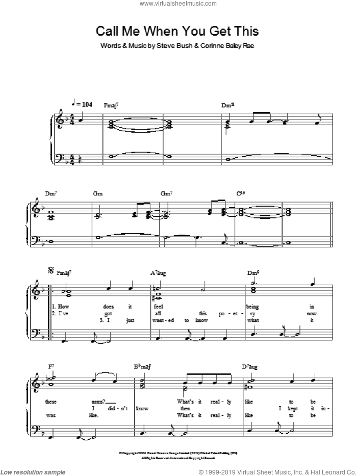 Call Me When You Get This sheet music for piano solo by Corinne Bailey Rae and Steve Bush, easy skill level