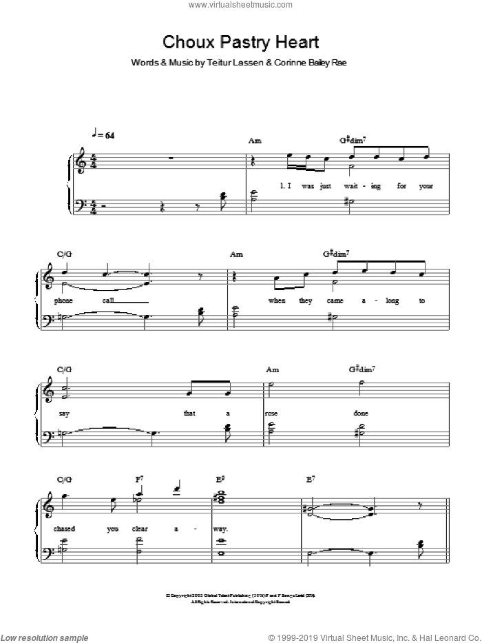 Choux Pastry Heart sheet music for piano solo by Corinne Bailey Rae and Teitur Lassen, easy skill level