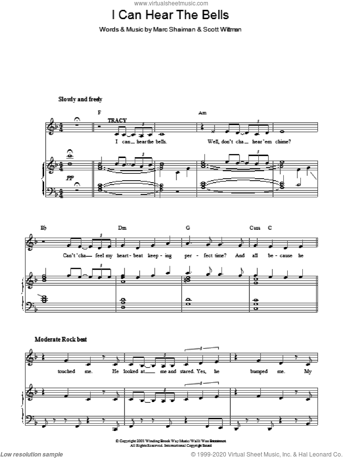 I Can Hear The Bells sheet music for voice, piano or guitar by Scott Wittman and Marc Shaiman. Score Image Preview.