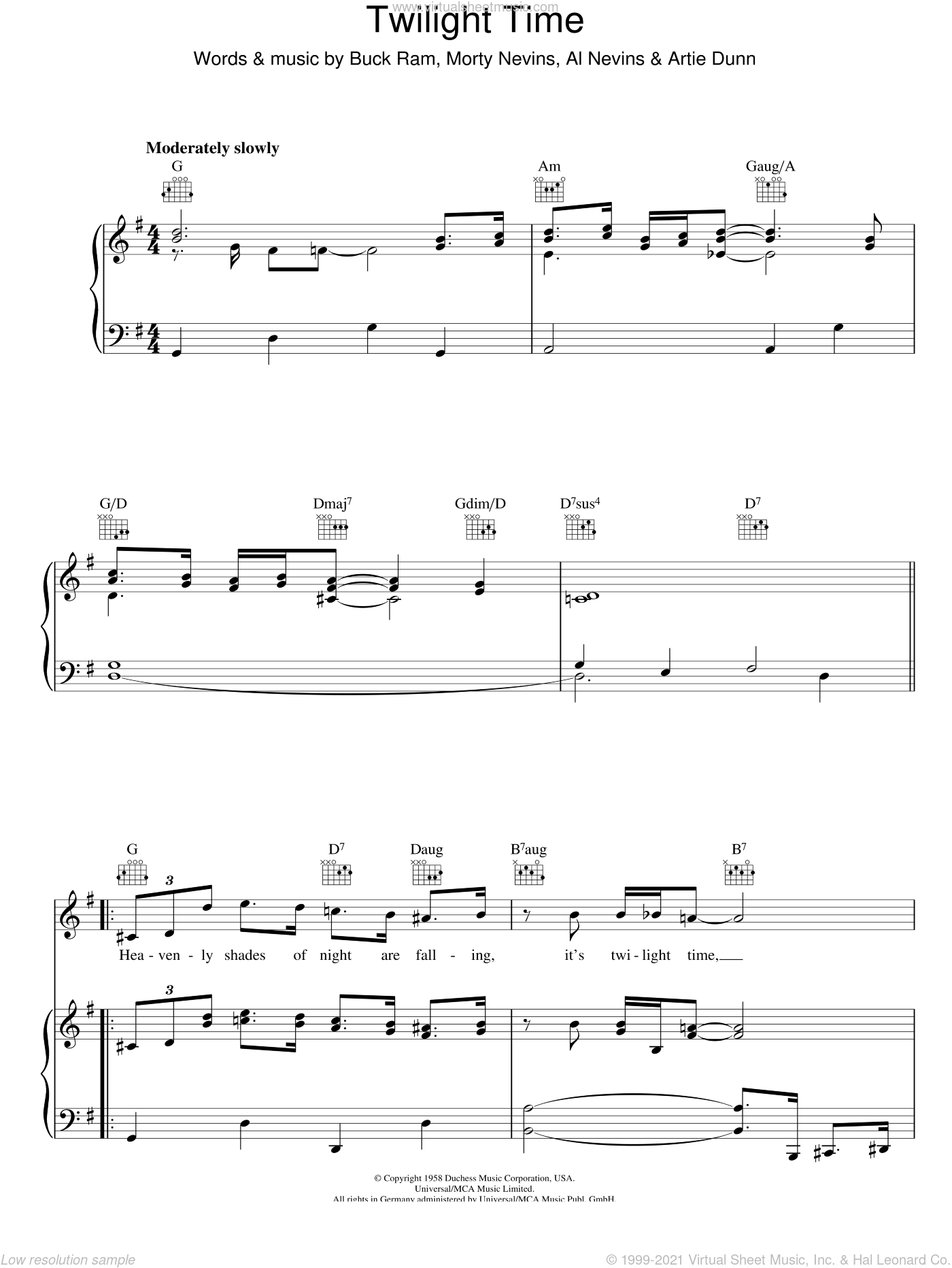 Twilight Time sheet music for voice, piano or guitar by Morty Nevins, The Platters and Buck Ram