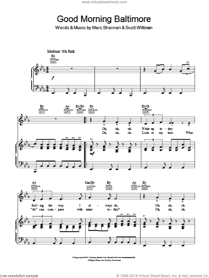 Good Morning Baltimore sheet music for voice, piano or guitar by Scott Wittman