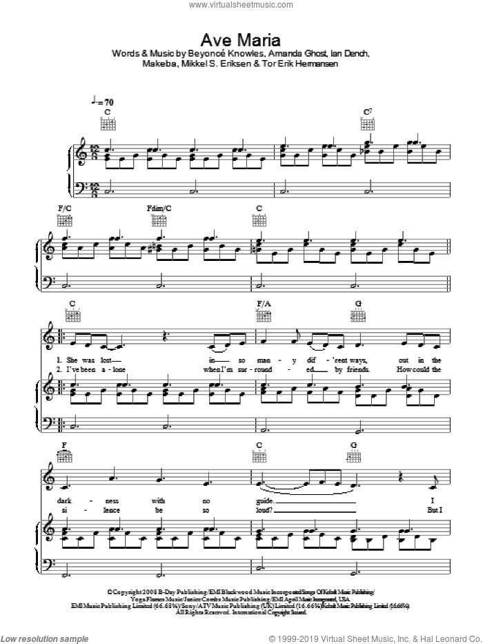 Ave Maria sheet music for voice, piano or guitar by Beyonce, Amanda Ghost, Beyonce Knowles, Ian Dench, Makeba, Mikkel S. Eriksen and Tor Erik Hermansen, intermediate. Score Image Preview.