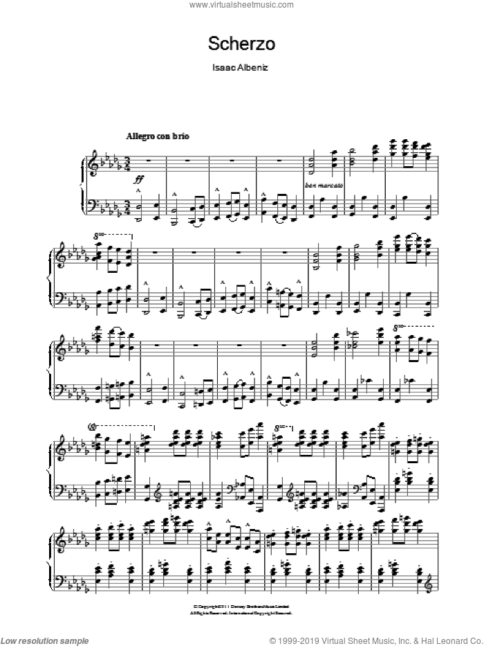 Scherzo sheet music for piano solo by Isaac Albeniz. Score Image Preview.