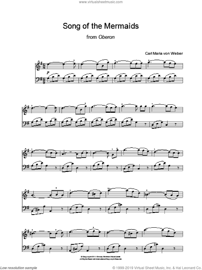 Song Of The Mermaids (from Oberon) sheet music for piano solo by Carl Maria Von Weber. Score Image Preview.