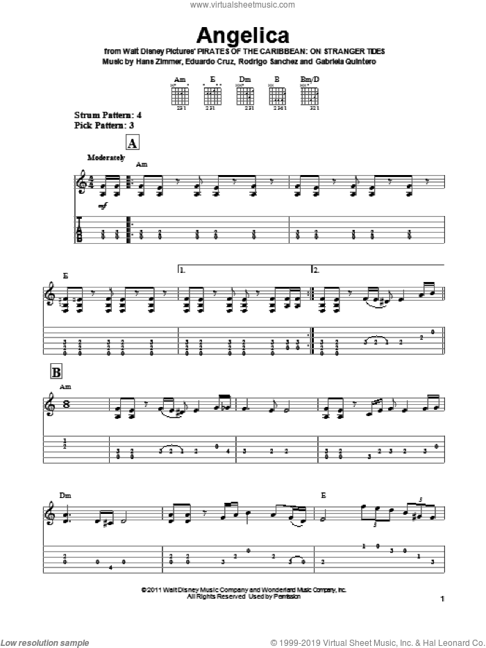 Angelica sheet music for guitar solo (easy tablature) by Hans Zimmer, Pirates Of The Caribbean: On Stranger Tides (Movie), Eduardo Cruz, Gabriela Quintero, Rodrigo Sanchez and Rodrigo y Gabriela, easy guitar (easy tablature)
