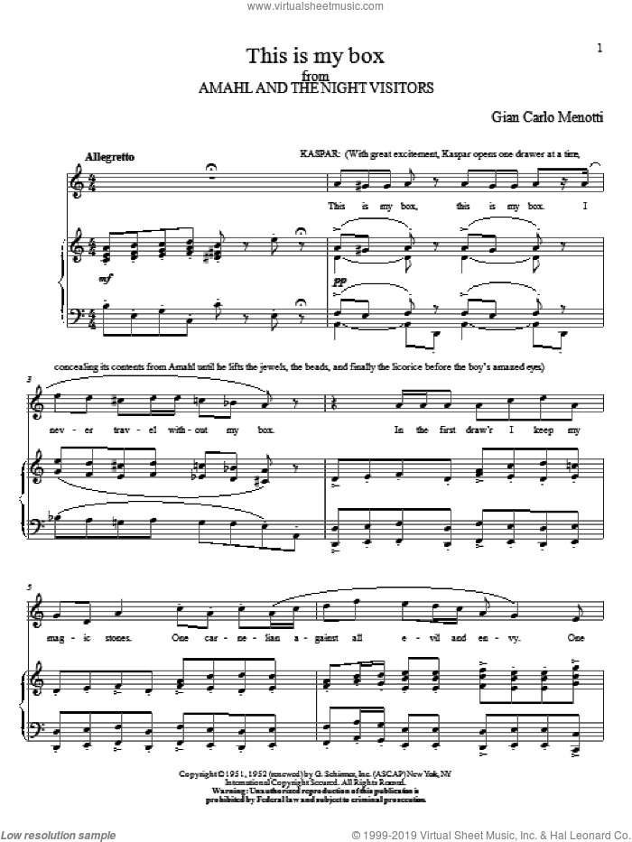 This Is My Box sheet music for voice and piano by Gian Carlo Menotti, classical score, intermediate skill level